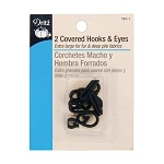 Dritz 767-1 Covered hooks & eyes, 2/pk, black
