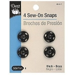 Dritz 80-4-1 Black sew on snaps size 4, 4pckg