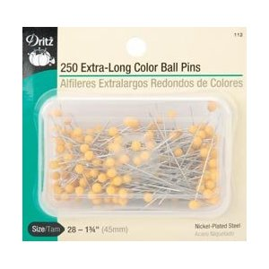 Dritz 112 Extra Long Color Ball Pins Size 28 250/Pkg 112