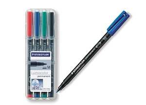 Staedtler 317WP4 Fiber Tip Pens, Lumocolor Permanent, Medium Point, 4/ST, Assorted