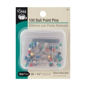 Dritz 27 Ball Point Pins Size 20 100/Pkg 27
