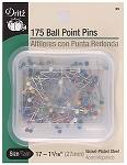 Dritz 39 Ball Point Pins Multi Color 1-1/16 Inch 175/Pkg