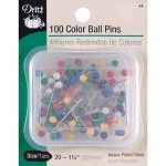 Dritz 44 Steel Colorball Pins - Size 20 100/Pkg