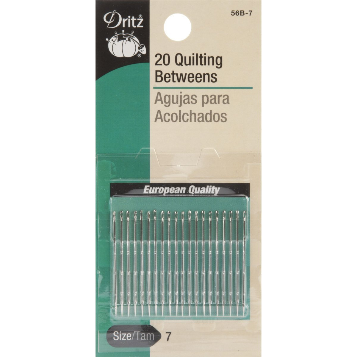 Dritz 56B-7 20 quilting needles, Short needles with round eyes for quilting and detailed handwork