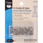 Dritz 90-3-65 14 Hooks 7 eyes, Size 3, nickel plated steel