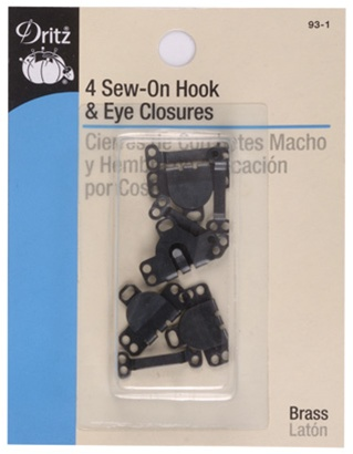 DRITZ 93-1 Sew-On Skirt Hooks and Eyes Black-4ct