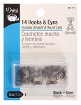 Hooks & Eyes - Black, 14ct. size 1