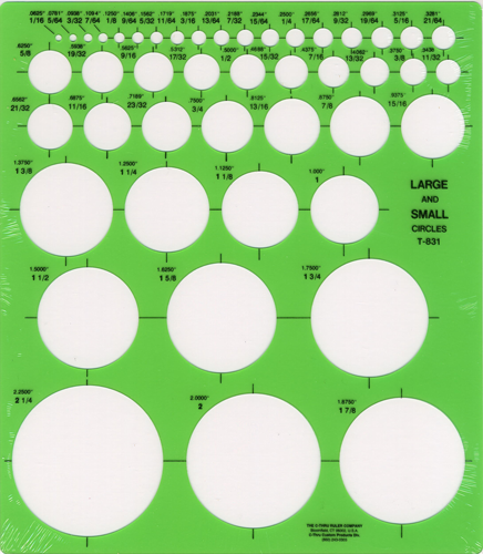 Westcott T-831, Large and small circles template