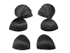 Bra Pads Inserts - Round, Black 12 Pairs Pack. Sizes available: 6, 8, 10, 12, 14