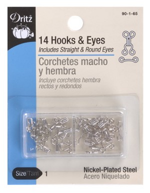 Dritz D90-1-65 Hooks & Eyes Nickel Size 1