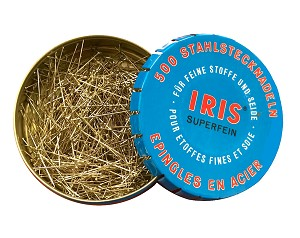"IRIS 1 1/4"" Super Fine Pins - 500 Extra long nickel-plated hardened steel with super sharp points. 1706C"